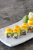 Double Salmon Sushi on a Plate