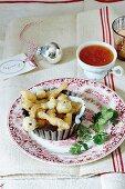 Tempura mushrooms with a lemon and chilli dip
