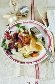 Open lasagne with tomatoes and Gorgonzola