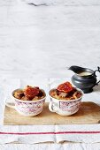 Bread-and-butter pudding in cups