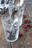 A glass with alderberry sprigs and silver spoons