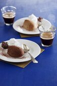 Mousse au chocolat served with espresso