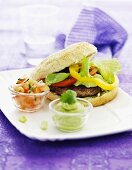 Hamburger, tomato salsa and avocado cream