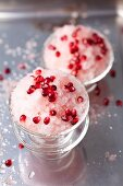 Rhubarb granita with pomegranate seeds