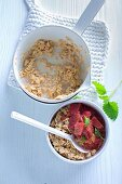 Porridge with rhubarb compote
