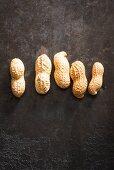 A row of five peanuts