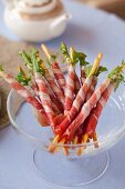 Breadsticks with rocket and Parma ham