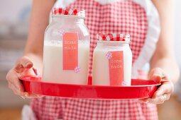 Jars of homemade yoghurt