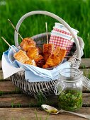 Salmon skewers with pesto for a picnic