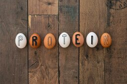 A row of hen's eggs spelling the word 'Protein'
