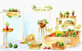 A shop selling fruit, vegetables and herbs (illustration)
