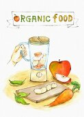 An illustration of organic food with fruit, vegetables and a mixer (illustration)
