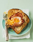 Toast with egg in a nest of ham