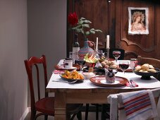 A table laid with various tapas and guest gifts