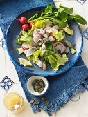 Soused herring with radishes and pumpkin seeds
