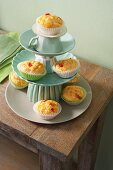 Cheese and chilli muffins on an improvised cake stand