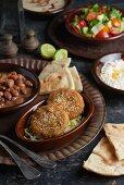 Bean stew, falafel and a cheese dip