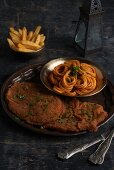 Veal escalope with spaghetti