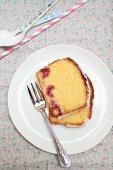 Corn cake with raspberries