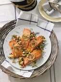 Salmon with apple and spring onion butter