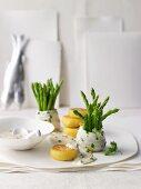 Lemon sole rolls with asparagus and polenta