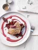 Grilled swordfish steak with braised chard and warm beetroot vinaigrette
