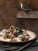 Kastanien-Kartoffel-Gnocchi mit Spinat