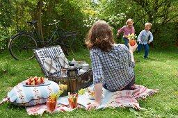 A family having a summer picnic