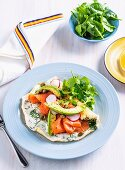 Egg-white herb omelette with salmon