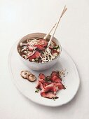 Noodle soup with beef shiitake mushrooms (Asia)