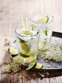 Hugo Caipirinas with elderflowers