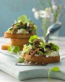 Crostini with celery salad