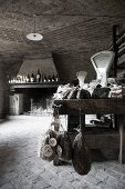 Wine and meats in a rustic, countryside delicatessen