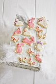 Decorated Easter biscuits and features on vintage wooden box