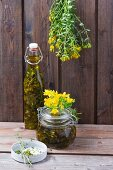 St. John's Wort oil and St. John's Wort hanging up to dry