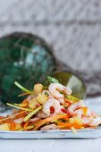 Exotic prawn salad with pineapple