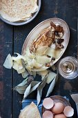 Soufflé crepes with shiitake mushrooms and Gruyere