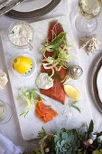 Lemon-ginger cured trout with herby mayo and fennel