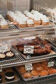 Vegan cakes on display
