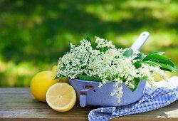 An arrangement of fresh lemons and elderflowers on a table outside