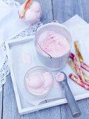 Sour cream ice cream with baked rhubarb stems