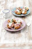 Baked potatoes with tuna fish, red onions and Greek yoghurt
