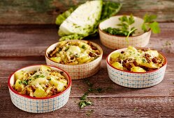 White cabbage and potato bake with cheese