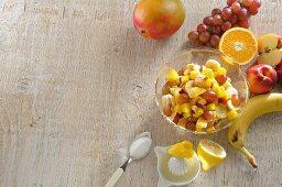 Fruit salad with lemon juice