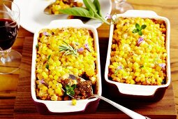 Wild boar ragout with a sweetcorn crust