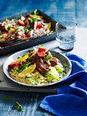 Greek lamb chops with roast vegetable and kritharaki