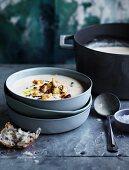 Roast garlic, cheddar and ale soup with fried cauliflower