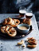Soft garlic and poppyseed pretzels with wholegrain beer mustard