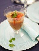 Cold tomato soup for a beach picnic