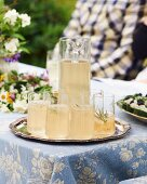 Rosemary drinks on a tray for a mid-summer festival